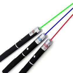 Puntero láser de 5mW de alta potencia 650nm verde 532nm azul-violeta 405nm puntero láser pluma de encendido ajustable sin batería