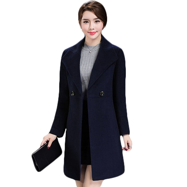 Women's Loose Plus Size Clothing 2018 Autumn Winter Fashion Turn Down Collar Double-breasted Slim Wool Trench Coat Jacket XH598 1