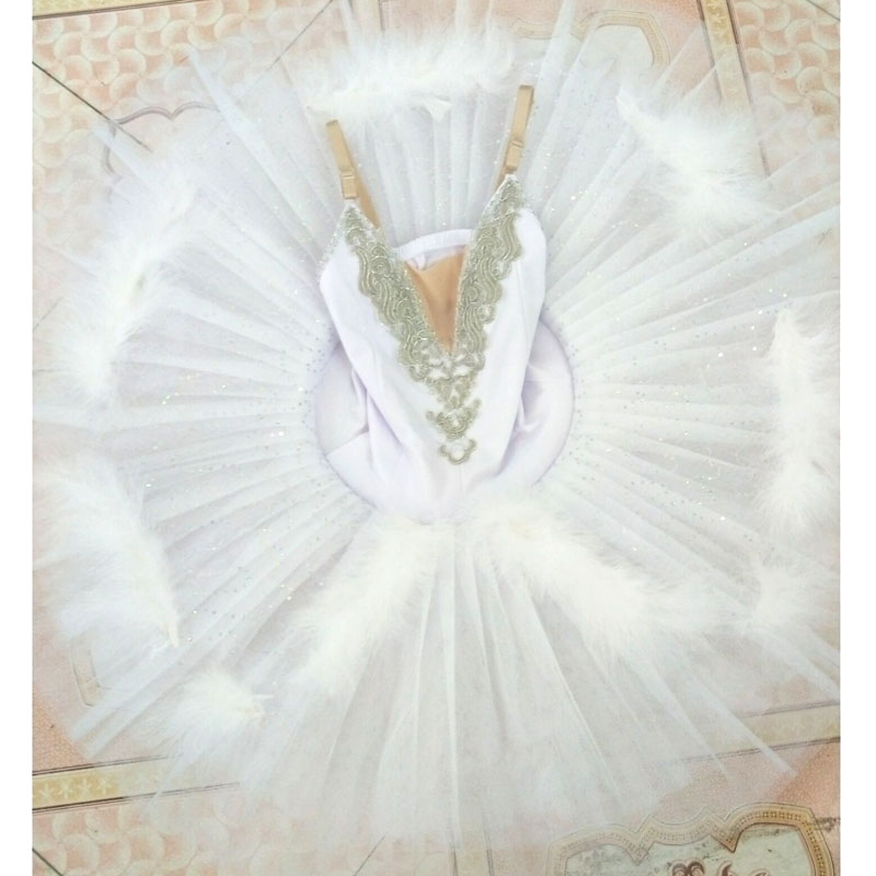 Балетки танцевальные костюмы белое перо маленький Лебедь балетная пачка, жесткая Тюль Pre-Профессиональный Лебединое озеро Балет Танец блин...