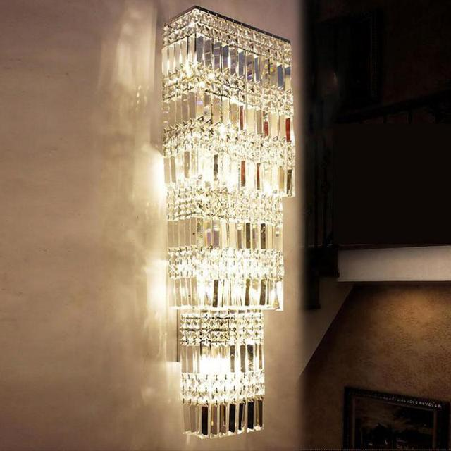 30cm*90cm penthouse Vertical crystal lamp led tall wall sconce Luminaire luxury Crystal Wall light hotel project large wall lamp