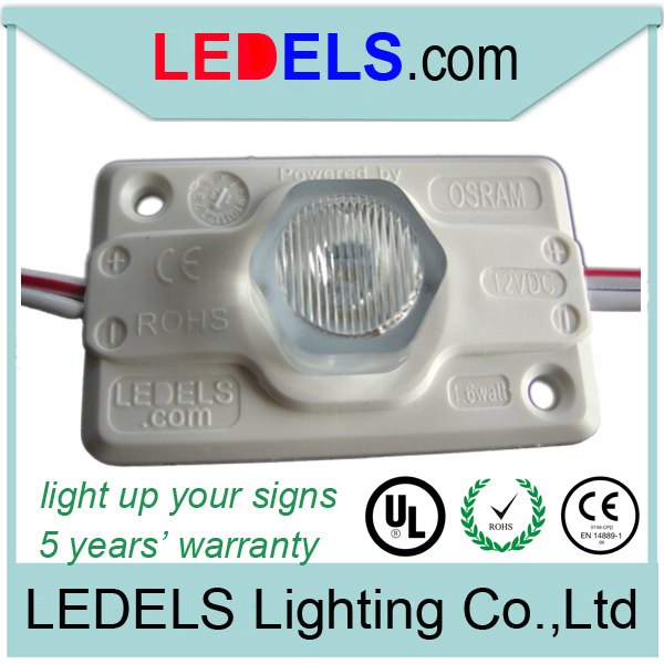 UL CE ROHS Nichia 12V 1.6W 120lm led sign lights module manufacturers lightbox 5 years warranty waterproof