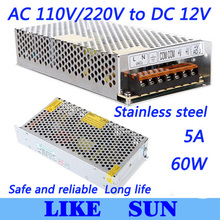 Высокое качество светодиодные импульсный источник питания Светодиодный источник питания 12 В 5A 60 Вт трансформатор 100-240 В