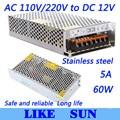 High Quality LED switching power supply LED power supply 12V 5A 60W transformer 100-240V Free shipping