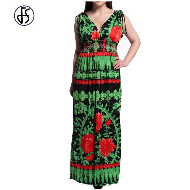 FS 5XL 6XL 7XL Sexy Maxi Plus Size Fitted Dress Women Sleeveless Clothing  Flower Print Elegant Bohemia Beach Long Dresses 24fe774fb189