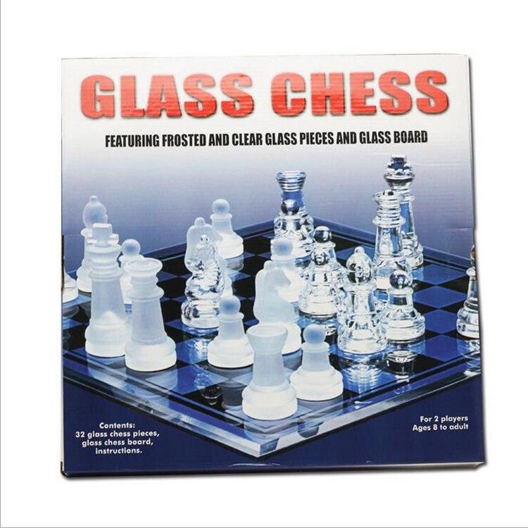 체커 보드와 함께 새로운 단색 크리스탈 체스 세트 무광택 유리 체스 게임 선물