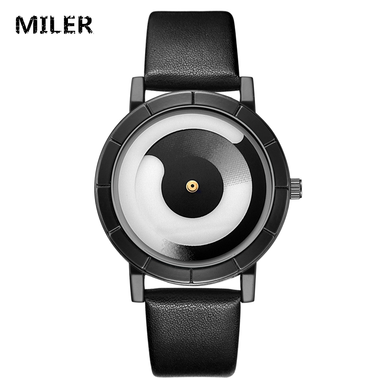 MILER New Fashion Watch Women Color Leather Strap Creative Tai Chi Rotate Dial Casual Quartz Watch Students Individuality Clock miler vintage fashion watch women retro leather strap world map casual quartz wristwatch ladies creative clock relogio feminino