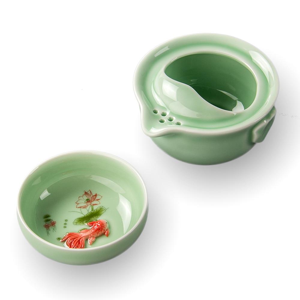 Creative Travel Portable Teapot Quik Cup 1 Pot 1 Cup Car Office Outdoor Tea Pot Kung Fu Fish Cup Friend Gift Teasets D036