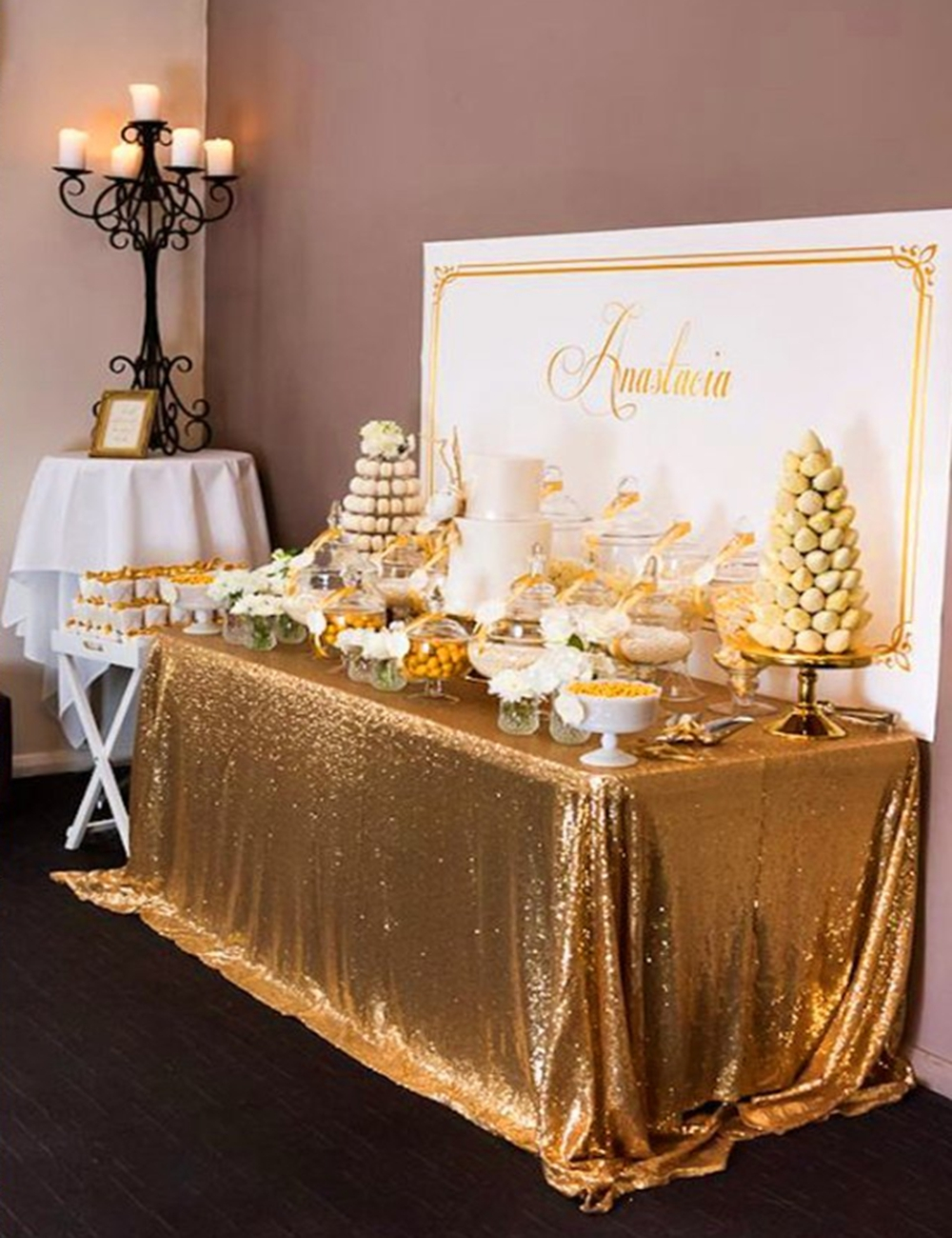 8ft Banquet Gold Sequin Table Cloth Large 90x156inch Gold