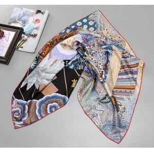 Image 2 - Hand Rolled Printed 100% Twill Silk Scarf Women Fashion Large Square Silk Shawl Hijab Head Scarves 88*88cm