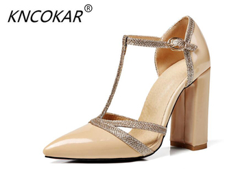 KNCOKAR The new style of spring 2018 high-heeled and fashionable high-heeled women's shoes with high-heeled shoes and button фото