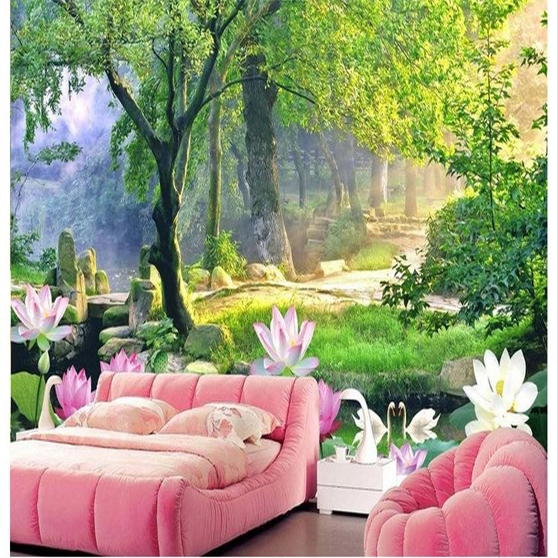 beibehang Custom large frescoes 3D lotus stands the big tree TV background wall wallpaper papel de parede para quarto