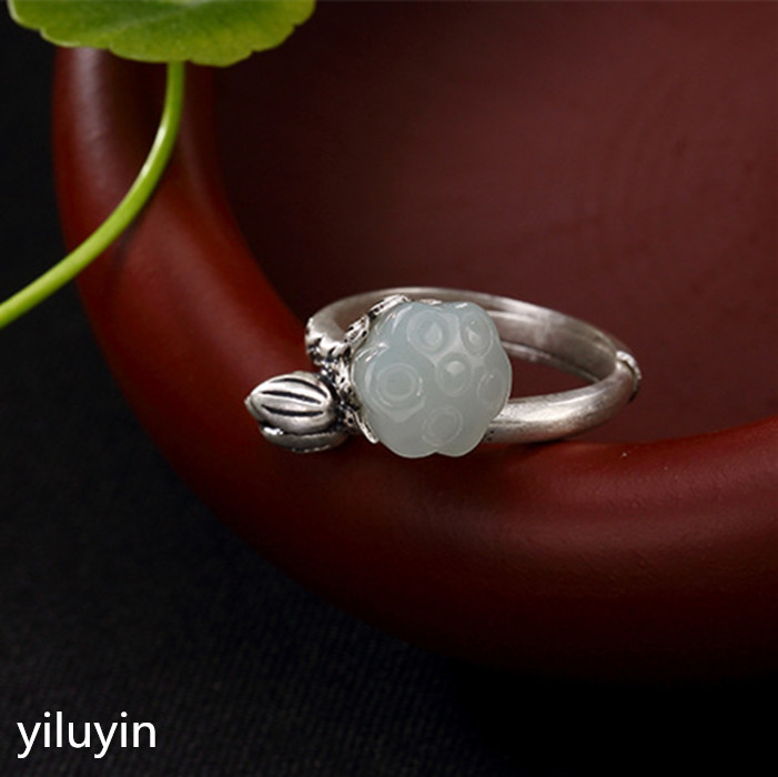 Lovely Kjjeaxcmy Boutique Jewelry S925 Sterling Silver Antique Inlaid And Tian Yu White Jade Rose Lady Opening Silver Ring Finger Ring Rings