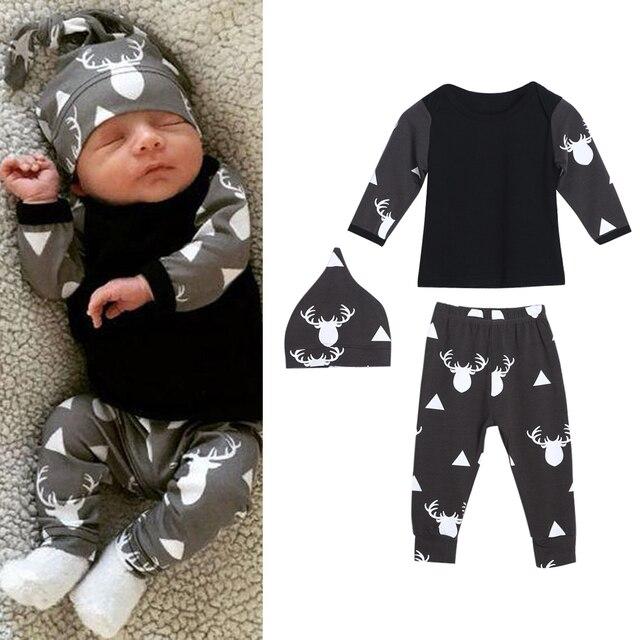 b6e183b5efe5b 2018 Yeni Bebek Giysileri Set Bahar Unisex Kız Erkek Bebek uzun kollu giyim  Üst Pantolon Şapka