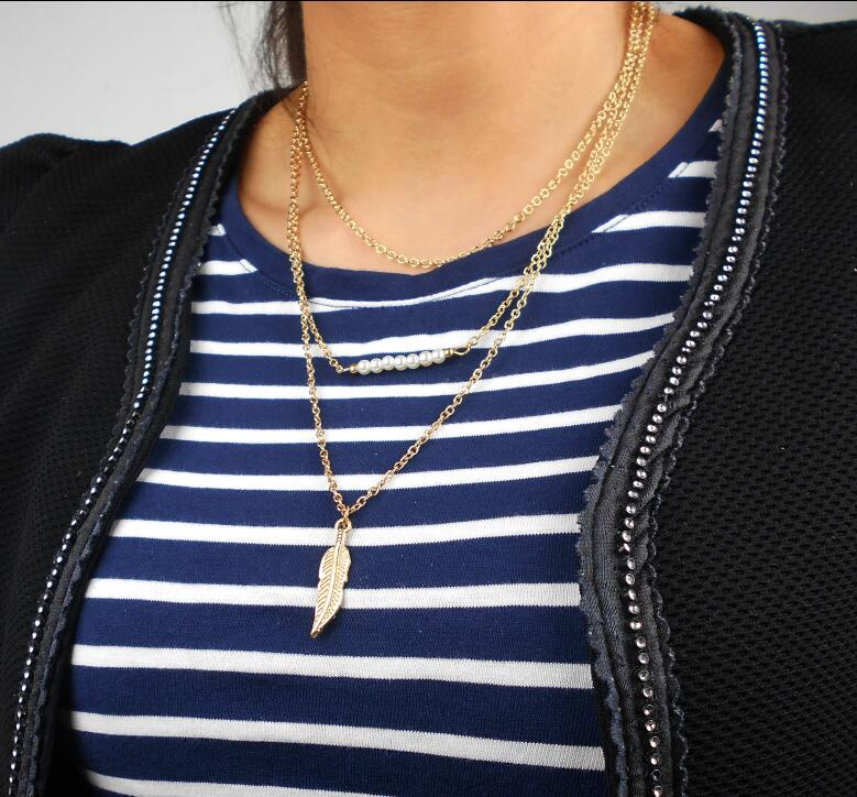 Silver Layered Necklace Set Long Necklace jewelry Simple Big feather Pendant Necklace Women Charm Necklace