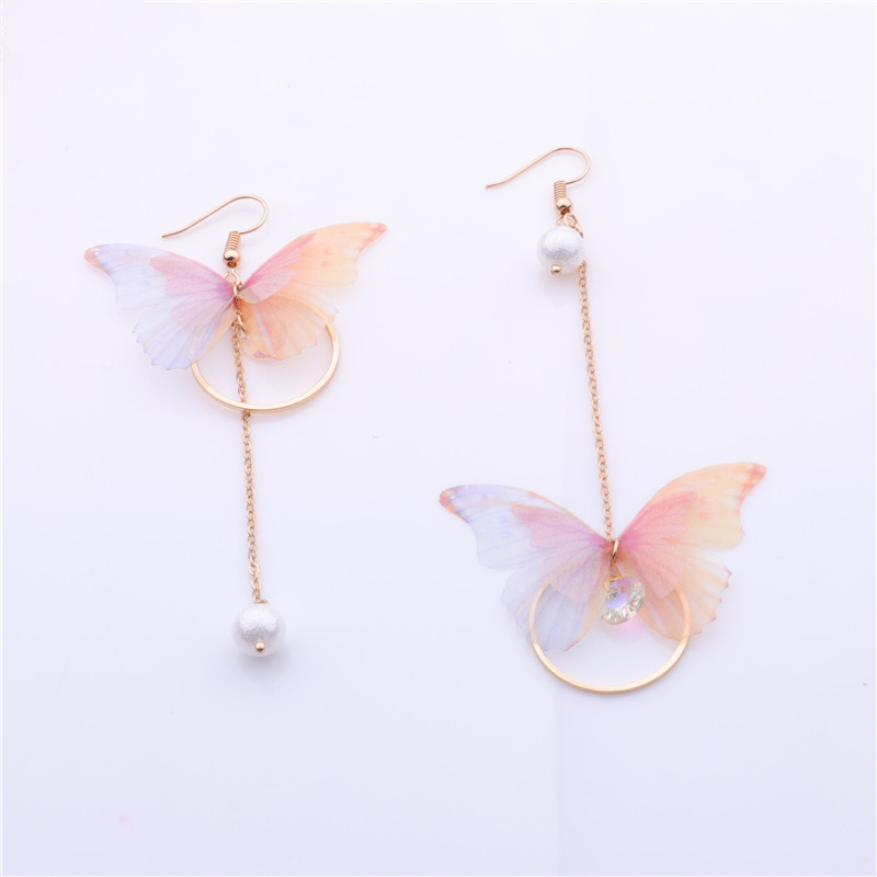2018 New Hot Fairy Yarn Butterfly Long Earrings For Girl Ear Adornment Alloy Circle Rhinestone Pendientes Trendy Brincos