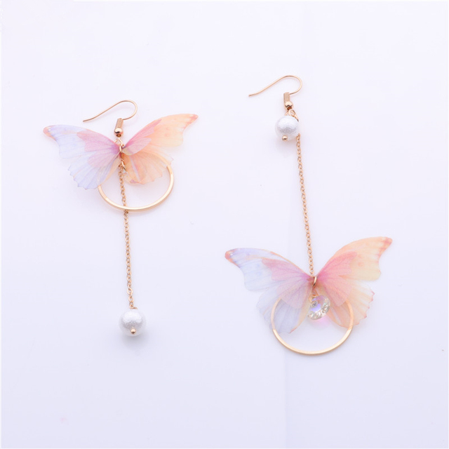 Fairy Yarn Butterfly Long Earrings
