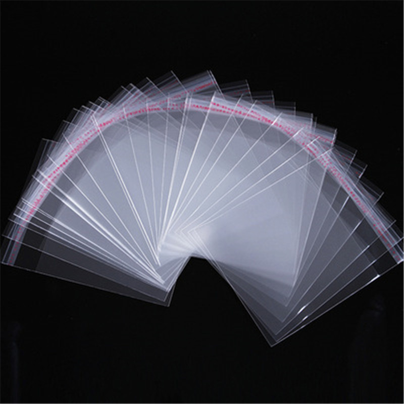 ACLOVEX 100pcs/lot Clear Transparent Plastic Self Adhesive Opp Bags 5*7/6*10/8*12/9*14/11*17cm OPP Bags Diy Jewelry Packaging