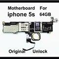 Desbloqueado teléfono original mainboard para el iphone 5s motherboard con touch id 64 gb 100% versión de la ue con fichas completas de trabajo