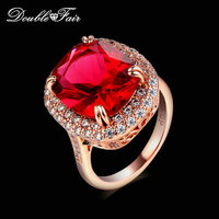 Exaggerated Big Red Crystal Punk Rings Cubic Zirconia Rose Gold Color Fashion Brand Retro Jewelry For Women Vintage anel DFR199