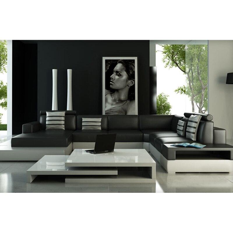 Divano Di Pelle Nero.Soggiorno Divano In Pelle Con Colore Nero Living Room Leather Sofa