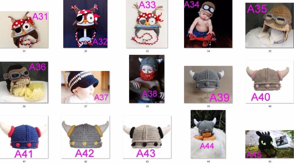 ①Envío libre, 100 unids/lote ganchillo sombrero del reno del bebé ...
