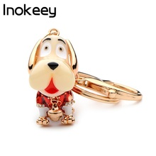 Inokeey mooie emaille rode en blauwe hond sleutelhanger vrouwen metalen mooie dierlijke tas sleutelhanger mode hoge kwaliteit geschenken