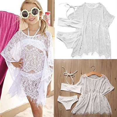 3PCS Set Girls Kids Summer Lace Beachwear Bathing Suit Bikini Set +Cover up Swimsuit Swimwear Beach Dress Girls Clothes