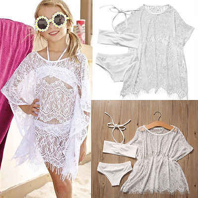 5554b93040935 Detail Feedback Questions about 3PCS Set Girls Kids Summer Lace Beachwear Bathing  Suit Bikini Set +Cover up Swimsuit Swimwear Beach Dress Girls Clothes on ...