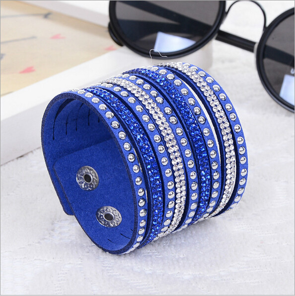 Nueva Womens Simple Cuff Wristband cuero Crystal Wrap Punk Bangle Rhinestone pulsera regalo de la joyería fiesta