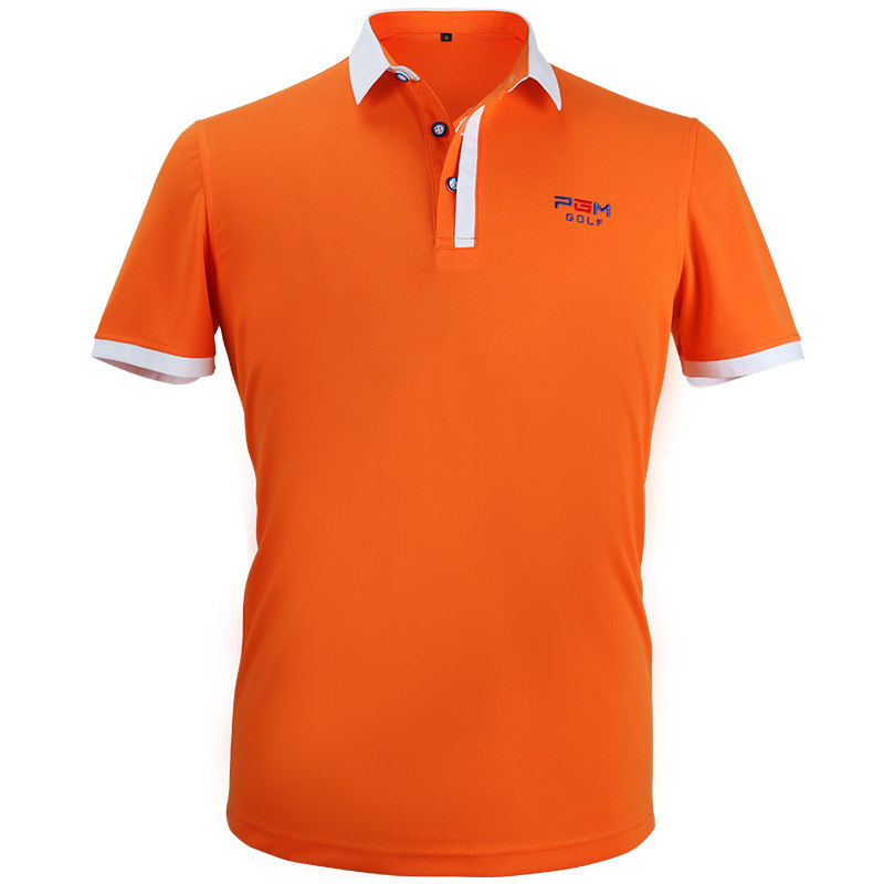New Golf Apparel Mens Short Sleeved Polo Shirt Summer Breathable Dry Fit Running Sport Shirts (Orange)