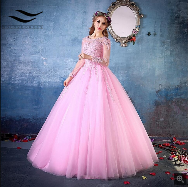 2017 gorgeous ball gown lace appliques pink prom dresses long sleeve ...