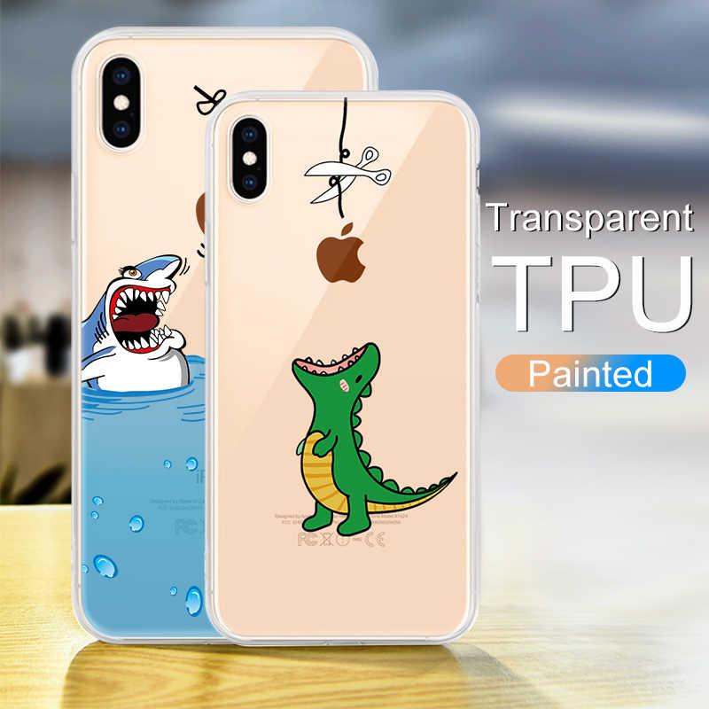 Transparente Suave TPU Caso de Telefone Para o iphone Xs Max Xr Xs 8 7 6 6S Plus 5 5S SE capa de silicone de Volta Caso Capa Para o iphone Xs Max Xr Xs