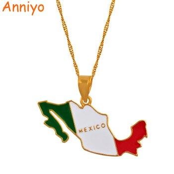 Anniyo Mexiko Karte Und Farbe Emaille Anhanger Halsketten Fur Frauen