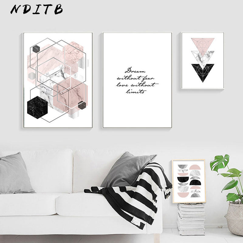 NDITB Geometric Marble Polygon Abstract Posters Minimalist Wall Art Canvas Prints Painting Nordic Decoration Pictures Room Decor