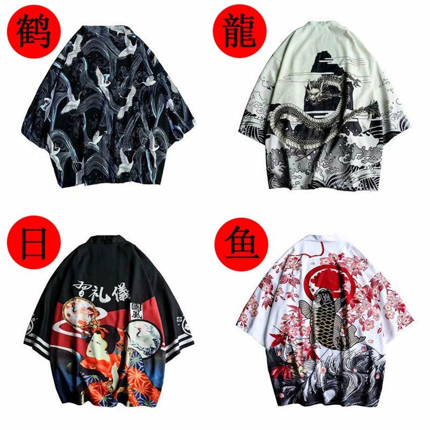 Traditional Japanese Cardigan Clothing Crane Kimono Haori Samurai Chinese-Dragon Women