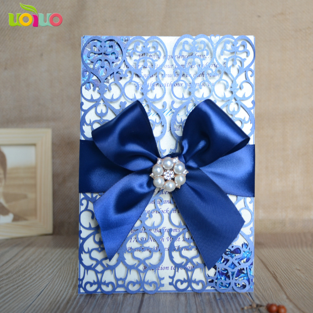 Us 56 5 50pc Sea Blue Card Craft Laser Cut Party Birthday Invitations Card Free Heart Tree Country Style Folded Wedding Invitation Card In Cards