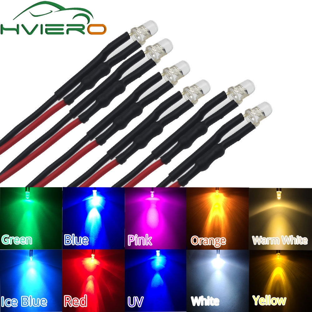 20X F3 3mm 20cm Pre wired LED Round light lamp bulb chip beads cable DC 12V white warm Red Green Blue Yellow Emitting Diodes20X F3 3mm 20cm Pre wired LED Round light lamp bulb chip beads cable DC 12V white warm Red Green Blue Yellow Emitting Diodes