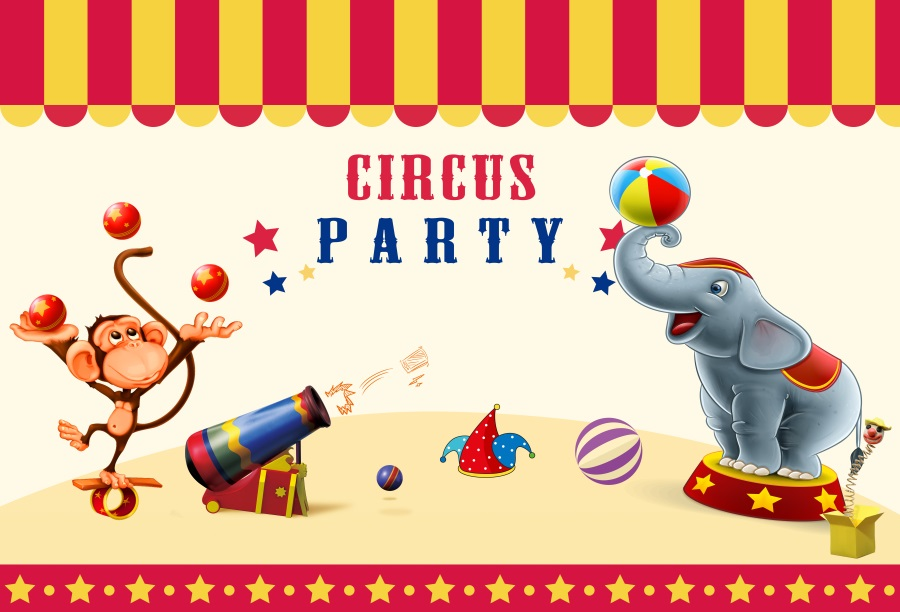 Laeacco Cartoon Elephant Monkey Scene Circus Party Baby Photography Backgrounds Custom Photographic Backdrops For Photo Studio