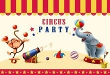 Laeacco Cartoon Elephant Monkey Scene Circus Party Baby Photography Backgrounds Custom Photographic Backdrops For Photo Studio