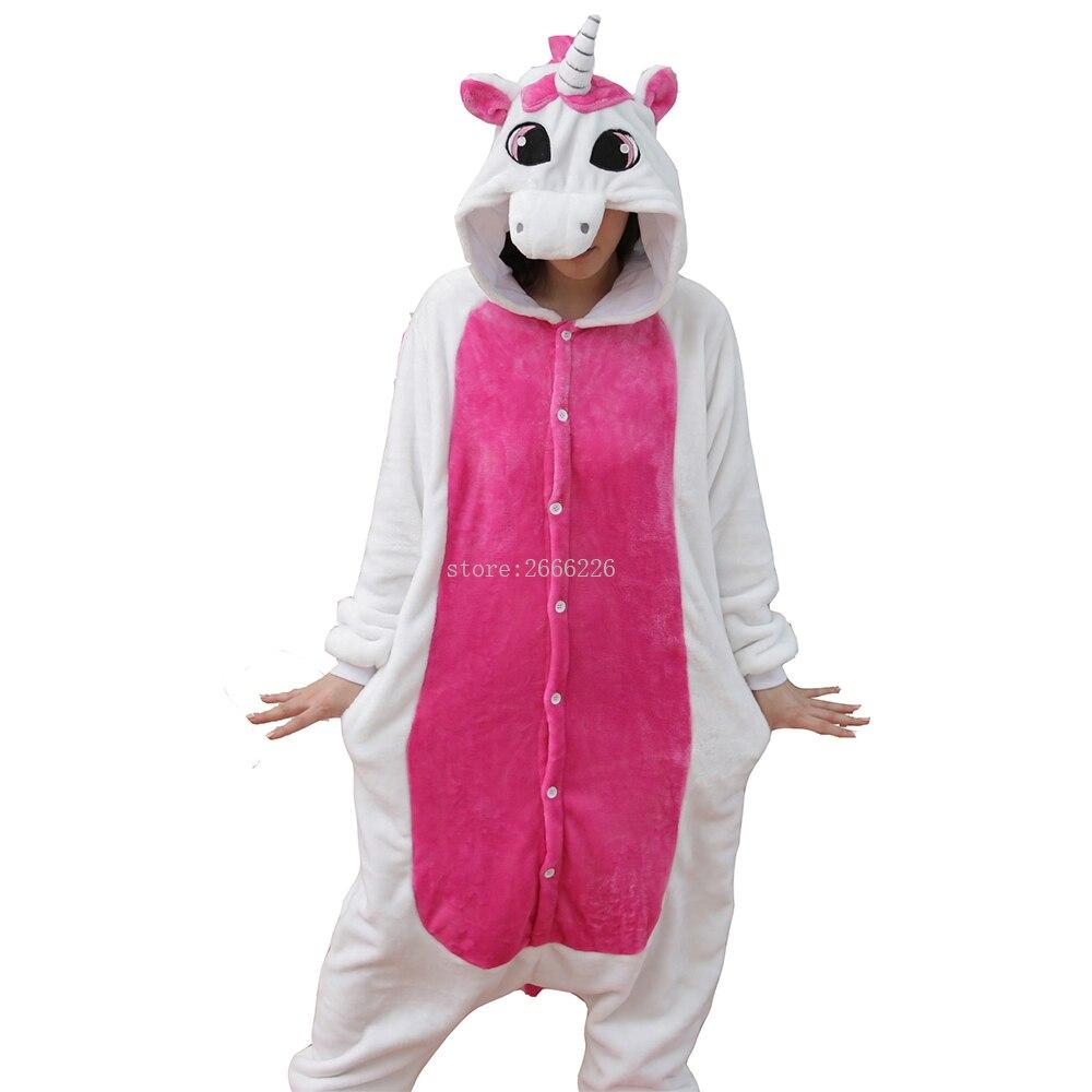 Women Unicorn   Pajamas     sets   Adult Winter Animal   Pajamas   Kits Flannel Costume Cosplay Pijamas Unicornio Onesies long sleeve