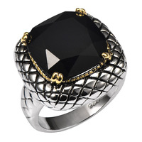 Huge Black Onyx 925 Sterling Silver Ring Factory Price For Women And Men Size 6 7