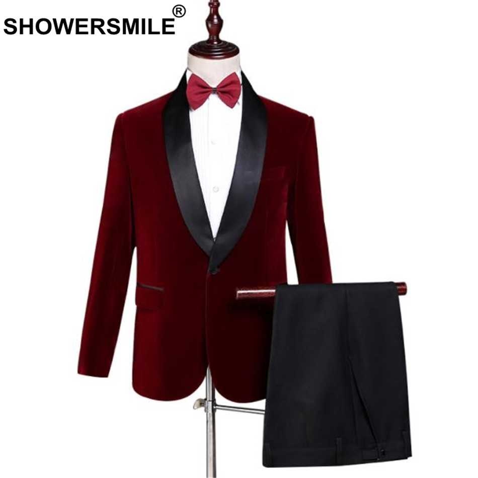 SHOWERSMILE Velvet Burgundy Blazer Men Suits 3 Pieces Set British Style Red Suit Jacket Wedding Groom Singer Slim Fit Blazer