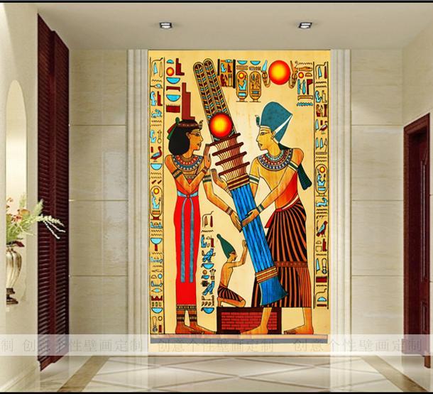 Retro mural ancient Egypt character wallpaper mural 3D photo wallpaper Large mural Entrance hallway backdrop wallpapers free shipping retro english hepburn postcards simple european style backdrop moisture proof bedroom bathroom wallpaper mural