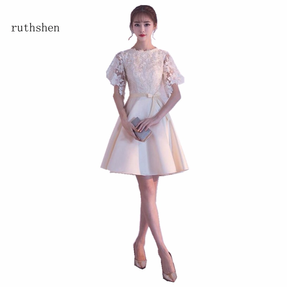 ruthshen Soop Neck Charming A Line Vestido Coctel Corto Short Sleeves Lace   Cocktail   Party   Dress   Short Formal Homecoming   Dress