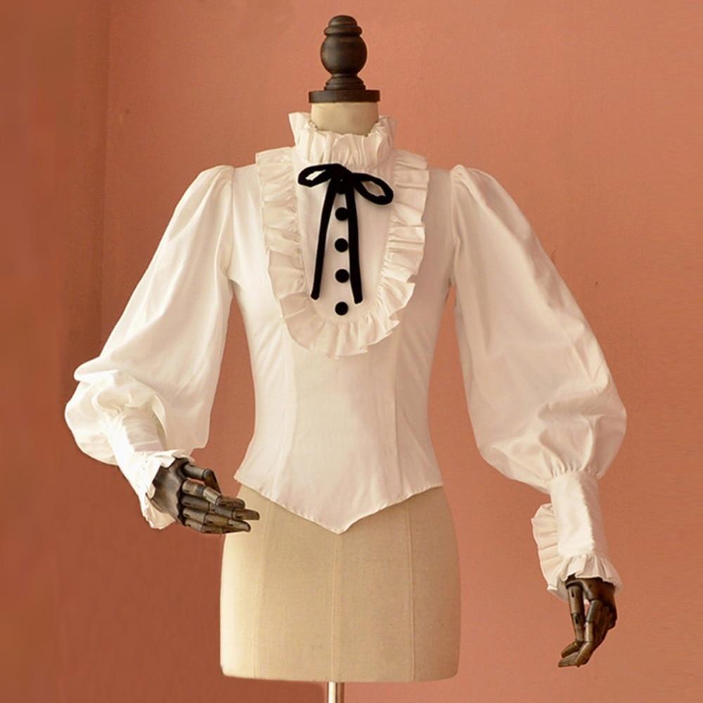 Spring Autumn women office blouse lantern sleeve vintage gothic lolita blouse female Slim Casual white shirts