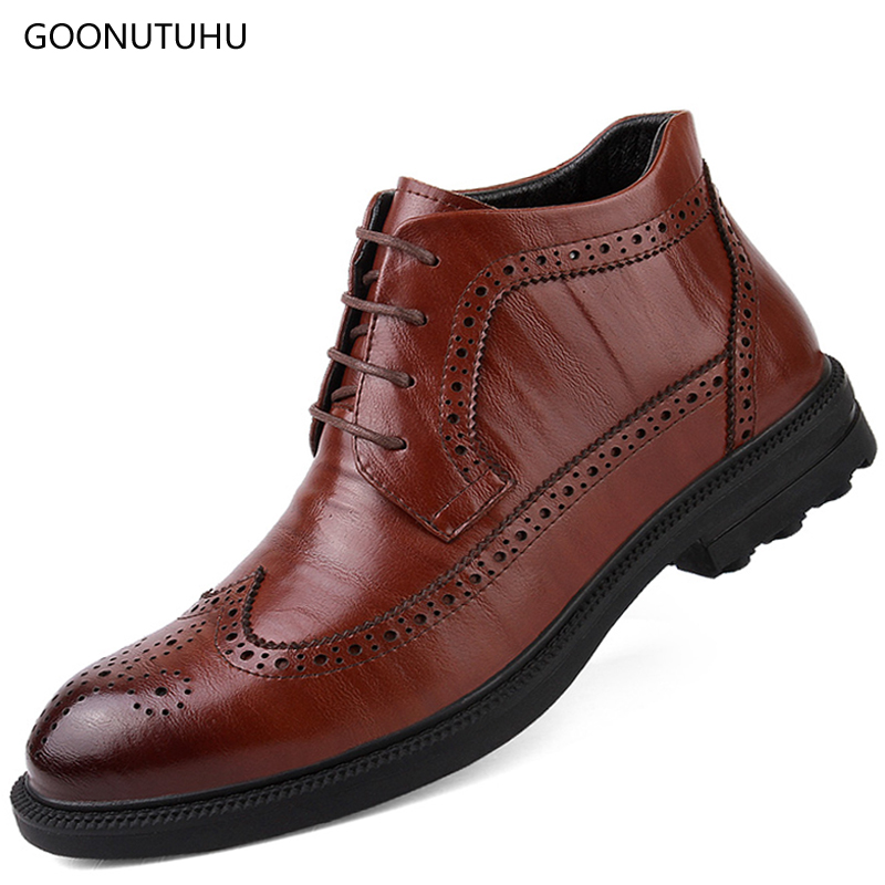 2018 new winter fashion men's boots snow casual shoes genuine leather classic brown black bot work shoe man ankle boots for men стоимость