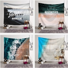 High Quality Beach Letters Decoration Tapestry 3D Printed Handmade Wall Tapestry Mandala Blanket Tapiz Pared Wall Hanging