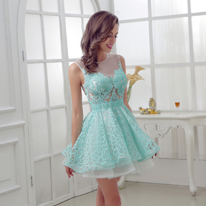 Image 4 - New Arrival Short Mint Homecoming Dresses with Lace Beading Appliques Illusion Sleeveless Graduation Party Cocktail Gowns OL313