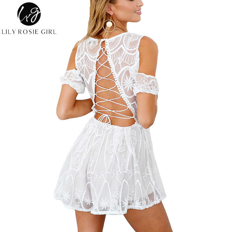5d0f9063190 ... Lily Rosie Girl Sexy Backless Hollow Women White Lace Playsuit Deep VNeck  Off shoulder Short Jumpsuit ...