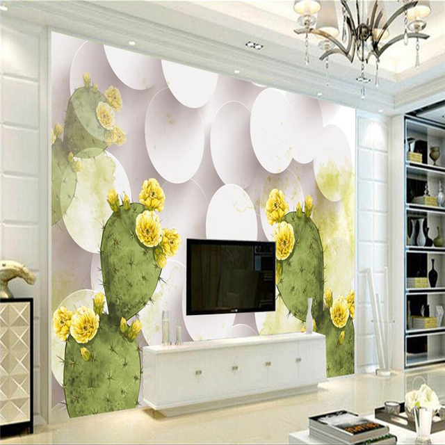 Custom Wall Paper Cactus Flower Yellow Wall Murals For Living Room